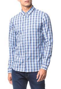 Camisa Slim Ml Xadrez Sport - Azul Médio - 3