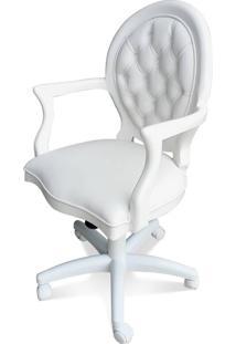 Cadeira Medalhão Giratório Pé Metal Com Pinturas E Tecidos Personalizáveis
