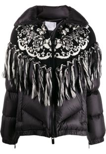 Sacai Knitted Panel Puffer Jacket - Preto