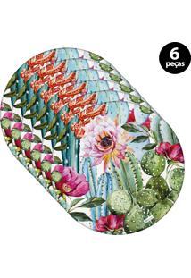 Capa Para Sousplat Mdecore Floral Rosa 6Pçs