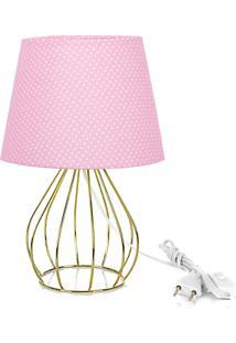 Abajur Cebola Dome Rosa/Bolinha Com Aramado Dourado