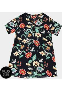 Vestido Floral Lily Fashion Plus Size - Feminino-Marinho