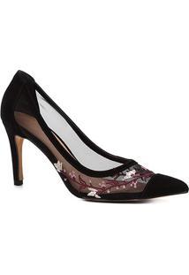 Scarpin Couro Shoestock Salto Alto Tela Bordado - Feminino-Preto
