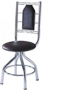 Cadeira Aço E Courino Ca-950 Móveis Brastubo Cromado/Tabaco