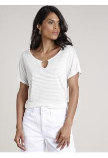 Blusa Feminina Ampla Listrada Com Lurex E Vazado Manga Curta Decote Redondo Off White