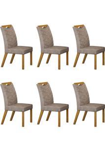 Conjunto Com 6 Cadeiras Verona Imbuia Mel E Cinza