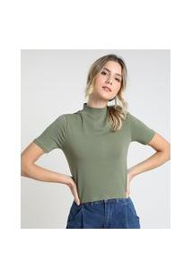 Blusa Feminina Básica Manga Curta Gola Alta Verde Militar