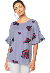 Camiseta Maria Valentina Listras Azul