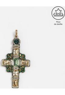 Brinco Cruz Com Pedrarias - Dourado & Verde - 12X6Cmversace