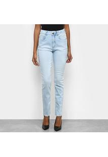 Calça Jeans Slim Morena Rosa Estonada Feminina - Feminino-Azul Claro