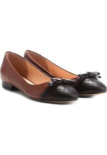 Sapatilha Couro Shoestock Bicolor Laço Feminina - Feminino-Caramelo