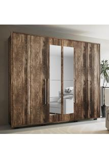 Guarda-Roupa 6 Portas Com Espelho Munique Canela Rústico - Colibri Móveis
