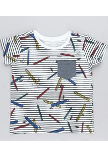 Camiseta Infantil Listrada Com Bolso Manga Curta Gola Careca Branca