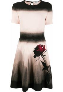 Alexander Mcqueen Vestido De Tricô Com Efeito Degradê - Rosa