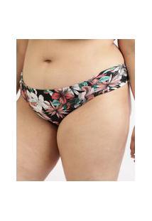 Biquíni Calcinha Plus Size Estampado Floral Com Franzido E Proteção Uv50+ Preto