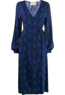 La Doublej Vestido Envelope Azul Com Estampa Floral