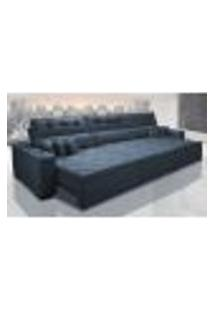 Sofá Retrátil E Reclinável 3,52M Austin Com Molas No Assento Tecido Suede Velusoft Azul