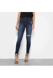 ... Calça Jeans Skinny Colcci Bia Bordada Manual Cintura Média Feminina -  Feminino-Azul 24ac8eef338