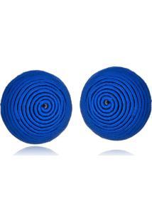 Brinco Le Diamond Botão De Seda Azul Royal