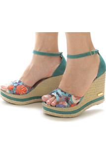 Sandália Sb Shoes Anabela Ref.3201 Turqueza