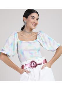Blusa Feminina Canelada Estampada Tie Dye Manga Bufante Decote Reto Multicor