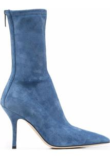 Paris Texas Pointed Toe Suede Ankle Boots - Azul