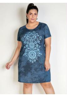 Vestido Tie Dye Azul Estampa Frontal Plus Size