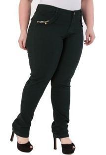 Calça Confidencial Extra Plus Size Veludo Feminina - Feminino-Preto