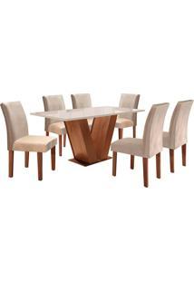 Conjunto De Mesa De Jantar Com 6 Cadeiras Classic Suede Ll Off White E Bege