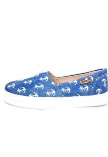 Tênis Slip On Quality Shoes Jeans Âncora Feminino - Feminino-Azul