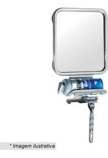 Espelho Com Porta Barbeador & Espuma- Inox & Espelhado