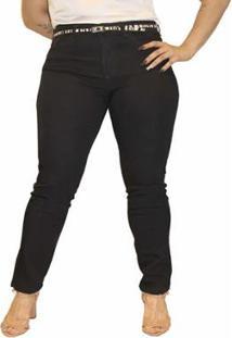 Calça Jeans Sob Plus Size Cintura Alta Skinny Feminina - Feminino-Preto