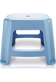 Banco Banquinho Baixo Resistente Banqueta Cadeira De Plástico Jacki Design Azul