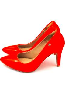 Scarpin Salto Alto Love Shoes Bico Fino Verniz Neon Laranja