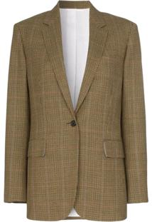 Calvin Klein 205W39Nyc Single Breasted Check Wool Blazer - Marrom