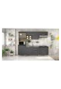 Cozinha Compacta Clean Iii 8 Pt 4 Gv Grafite E Nogueira