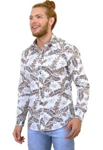 Camisa Slim Victor Deniro Palm Beach Branca/Marrom