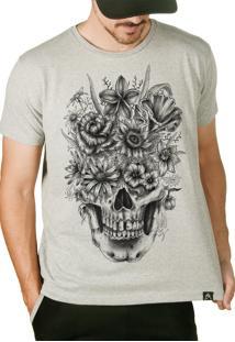 Camiseta Artseries Caveira Flores Cinza