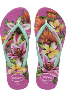 Sandálias Havaianas Slim Floral Rosa