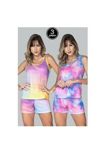 Kit 3 Pijama Bella Fiore Modas Baby Doll Tie Dye Multicolorido