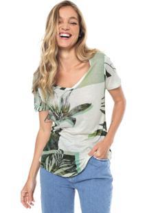 Camiseta Sacada Folhagem Branca/Verde