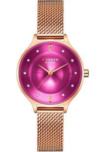 Relógio Curren Analógico C9036L Rosê E Roxo