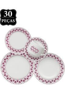 Aparelho De Jantar E Chá Oxford Cerâmica Donna Maia 30Pçs Branco/Roxo