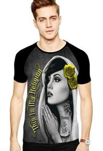 Camiseta Stompy Raglan Modelo 96 Masculina - Masculino-Preto
