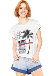 Camiseta Calvin Klein Jeans Tropical Lettering Branca