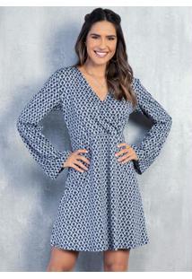 Vestido Geométrico Azul Curto Com Mangas Longas