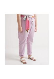 Calça Clochard Em Sarja Com Cinto Lenço Estampado Curve & Plus Size | Ashua Curve E Plus Size | Rosa | 56