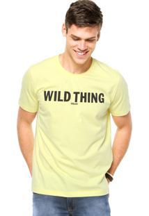Camiseta Manga Curta Colcci Slim Escrita Amarela