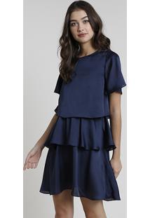 Vestido Feminino Mindset Curto Em Camadas Manga Curta Azul Marinho
