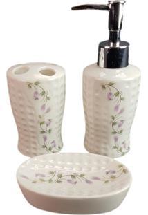 Jogo Banheiro Lavatório Amigo Gold Escova Saboneteira Liquido Gdwy-0428 Branco